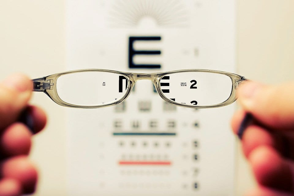 Glasses with a vision chart