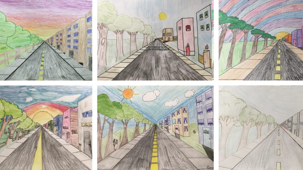 six image of student artwork of a road, trees, and buildings