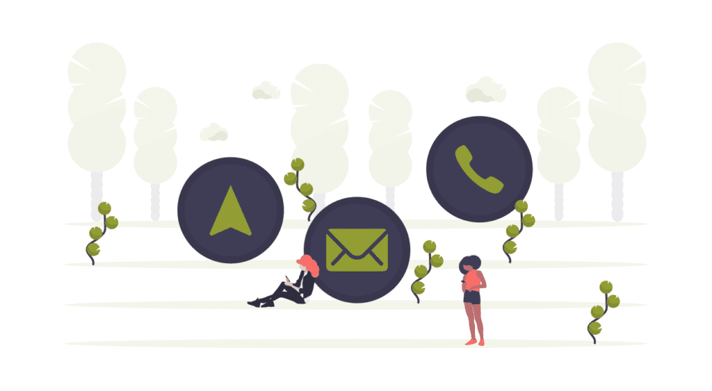 icons of email and phone with two girls using mobile devices
