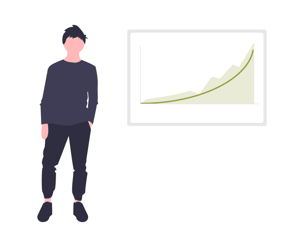 boy standinging next to a line chart showing upward growth